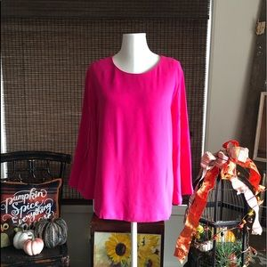 Chicos hot pink and detailed sleeve blouse